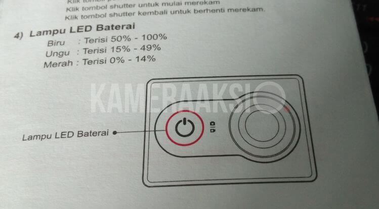 Tanda Battery Xiaomi Yi Penuh