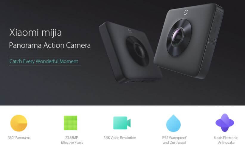Spesifikasi Xiaomi mijia 3.5K Panorama Action Camera