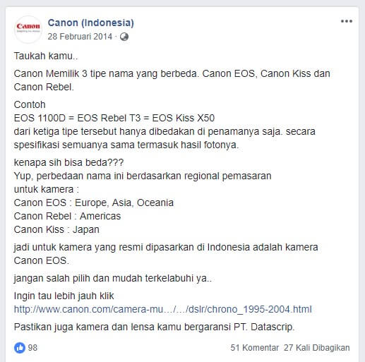 Perbedaan Canon EOS Rebel Kiss